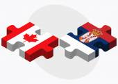 Canada and Serbia Flags — Stock Vector