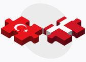 Turkey and Kingdom of Denmark Flags — Stock Vector