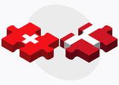 Switzerland and Kingdom of Denmark Flags — Stock Vector