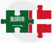 Saudi Arabia and Kingdom of Denmark Flags — Stock Vector