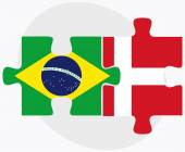 Brazil and Kingdom of Denmark Flags — Stock Vector