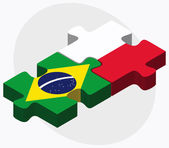 Brazil and Poland Flags — Stock Vector