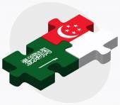 Saudi Arabia and Singapore Flags — Stock Vector