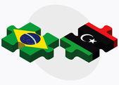 Brazil and Libya Flags — Stock Vector