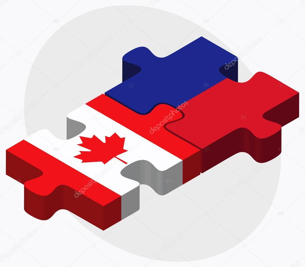 加拿大和海地国旗在拼图上孤立的白色背景– 图库插图