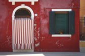 The Red House on the island of Burano — Stockfoto