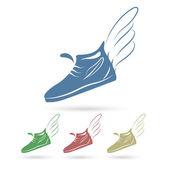 Speeding running shoe icons — Stock Vector