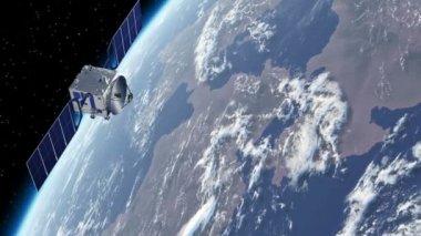 Satellite Orbiting Earth — Stock Video