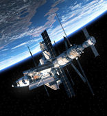 Space Shuttle And Space Station Orbiting Earth — Stock Photo