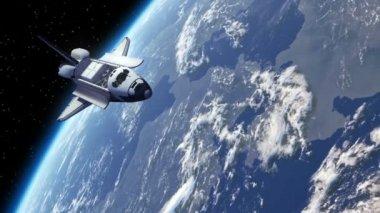 Space Shuttle Orbiting Earth — Stock Video