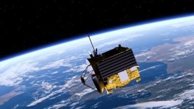 Satellite Deploys Solar Panels — Stock Video