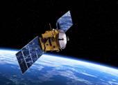 Communication Satellite Orbiting Earth — Stock Photo