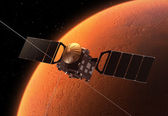 Interplanetary Space Station Orbiting Planet Mars — Stock Photo