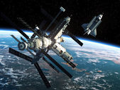 Space Station And Space Shuttle — Stock Photo