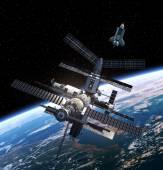 Rymdstationen och rymdfärjan. — Stockfoto