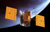 Interplanetary Space Station Orbiting Planet — Stock Photo