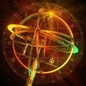 Armillary Sphere With Zodiac Symbols Over Red Background — Stock Photo