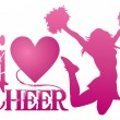 I Love Cheer With Jumping Cheerleader — Stock Vector #53180451
