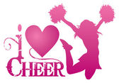 I Love Cheer With Jumping Cheerleader — Stock Vector