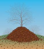 Pile of Raked Fall Leaves — Stock Vector