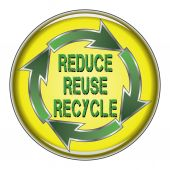 Reduce Reuse Recycle Button — Vetor de Stock