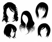 Women's hairstyle black isolated — Stock Vector