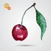 Polygonal red cherry isolated — Stockvektor