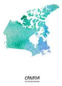 Watercolor map of North America — Stock Vector