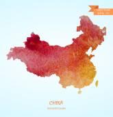 Watercolor map of China — Stock Vector