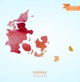 Watercolor map of Denmark — Stock Vector