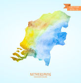 Watercolor map of Netherlands — Stock Vector