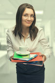 Young woman secretary at work at the office — Stock fotografie