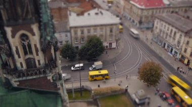 Intersection in the city of Lviv — Stock Video