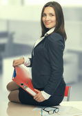 Secretary with document case in office — Stock Photo