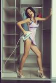 Foto mladé dívky v Prádlo erotické pózování v interiéru — Stock fotografie