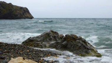 Sea beach in storm — Vídeo Stock