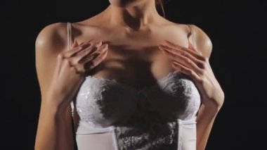 Young Girl In Erotic Lingerie — Stock Video