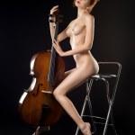 Naked girl playing cello — Stock Photo #60697669