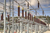 High voltage switchyard in electrical substation — Stock Photo