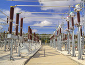 High voltage switchyard in electrical substation — Fotografia Stock