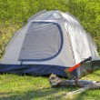 Camping tent in sunny forest — Stock Photo #72842513