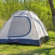 Camping tent in sunny forest — Stock Photo #72842597