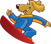 Dog snowboarder1 — Vector de stock