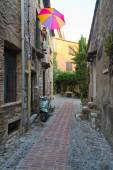 Narrow cobbled street in old town France. — Stock Photo