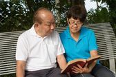 Senior couple reading a book — Stock Photo