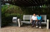 Senior couple reading a book — Stock Photo
