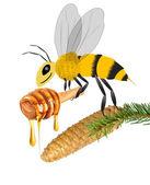 Honung och bee — Stockfoto