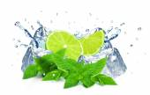 Lime and water splash — Stock Photo