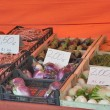 Vegetables with price tags in the street market — Stock Photo #57758297
