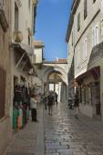 Porec ancient narrow street in Croatia — Stock Photo